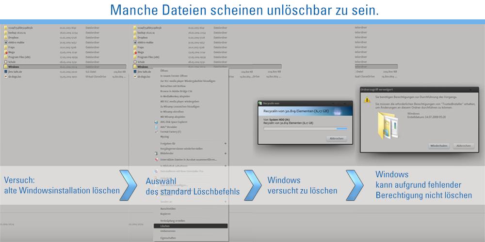 Gesperrte Dateien unter Windows löschen