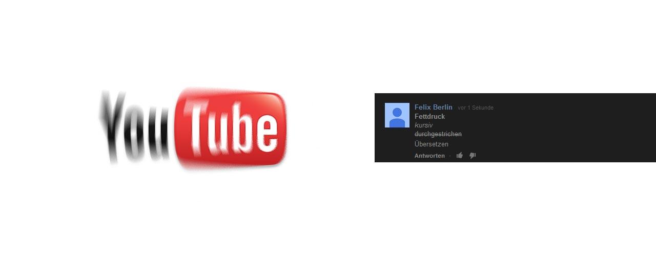 Youtube Kommentare formatieren